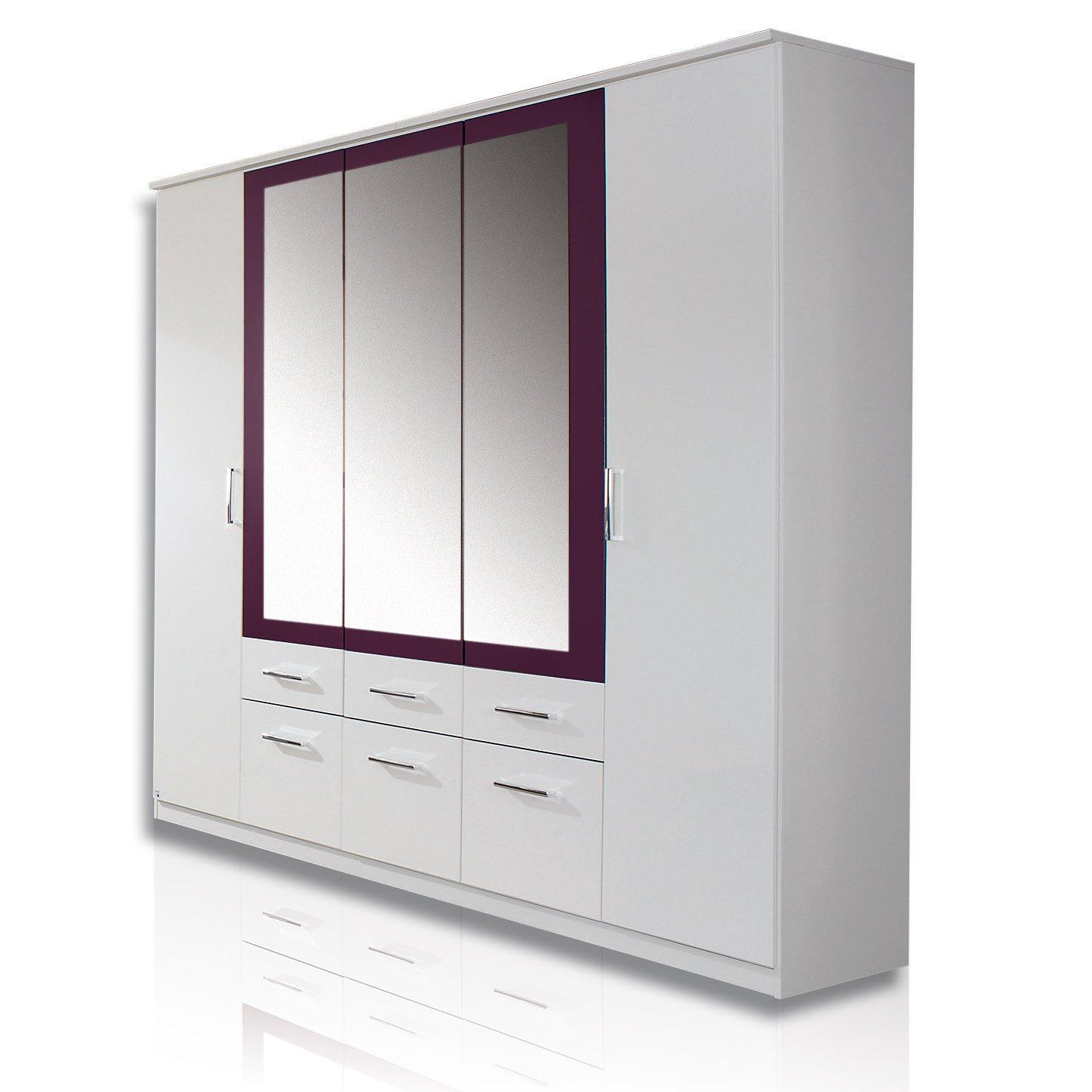 Kleiderschrank weiß mit spiegel  Rauch Schlafzimmerschrank Kleiderschrank Weiß Alpin 5-türig mit ...