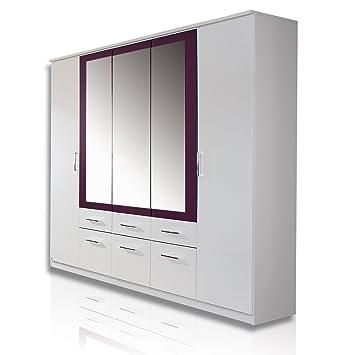 Rauch Schlafzimmerschrank Kleiderschrank Weiß Alpin 5 Türig Mit Spiegel, 6  Schubladen, Absetzung Brombeer