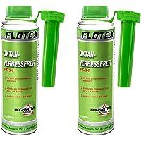 Flotex Oktan-verbeteraar, 2 x 250 ml additief verbetert oktan-getal, startgedrag en volledige belastingsaandrijving