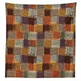 Geometric Decor Tablecloth Grunge Checkered and Striped Quilt Pattern Mottled Digital New Design Dining Room Kitchen Rectangular Table Cover Caramel Orange