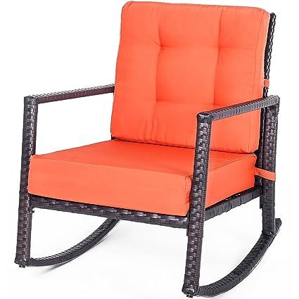 Enjoyable Merax Patio Chairs Outdoor Glider Rattan Rocker Chair Wicker Rocking Chairs With Orange Cushions For Porch Garden Lawn Deck Spiritservingveterans Wood Chair Design Ideas Spiritservingveteransorg