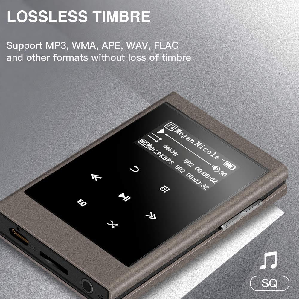 AGPTEK IMP Metal Hi-Fi MP3 Reproductor Musical portatil de Alta resolución de 16 GB, 1,3 Pulgadas de Pantalla OLED
