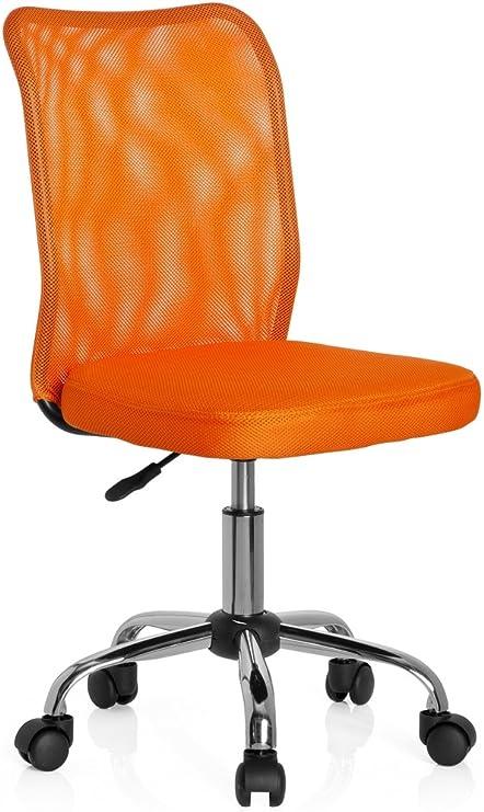 hjh OFFICE 685966 chaise de bureau enfant, chaise junior KIDDY NET orange sans accoudoirs, dossier en tissu maille respirant, piètement stable en