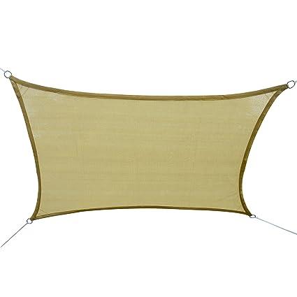 Amazon.com : Outsunny Tan Square Outdoor Patio Sun Shade Sail Pool ...