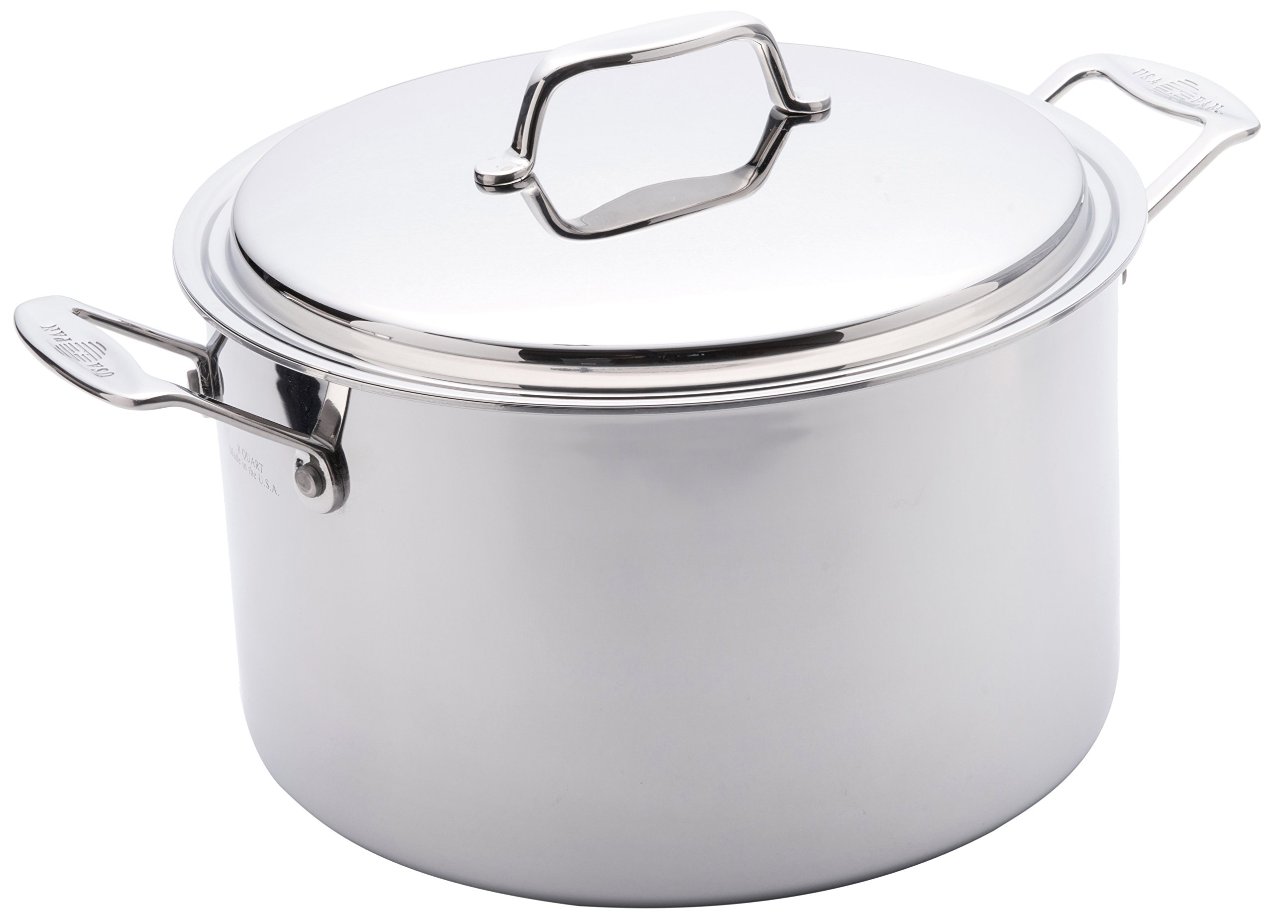 USA Pan Cookware 5-Ply Stainless Steel 8 Quart Stock Pot with Cover, Oven and Dishwasher Safe, Made in the USA