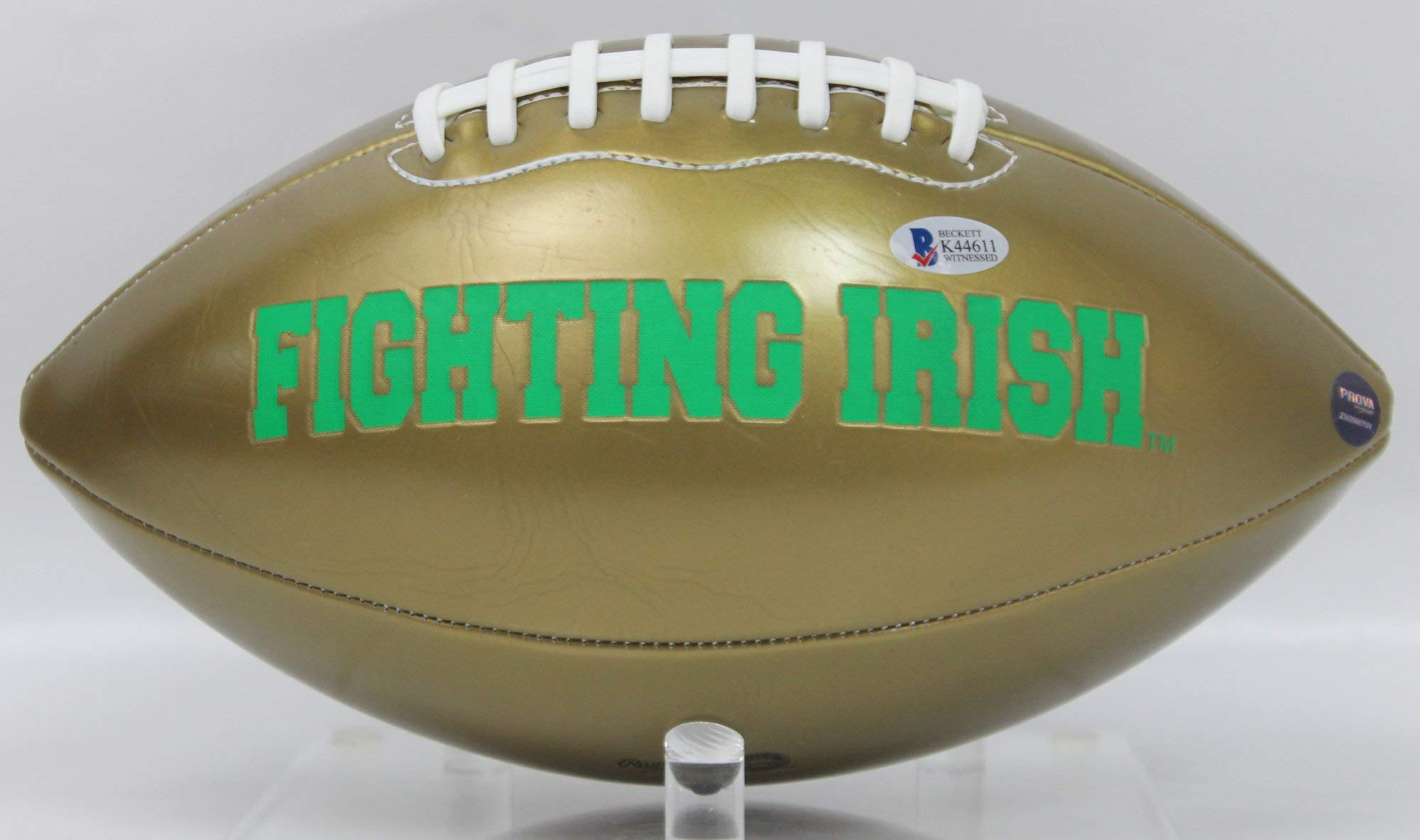 Rockett Ismail Autographed Notre Dame Fighting Irish Gold Panel Football w/Beckett COA