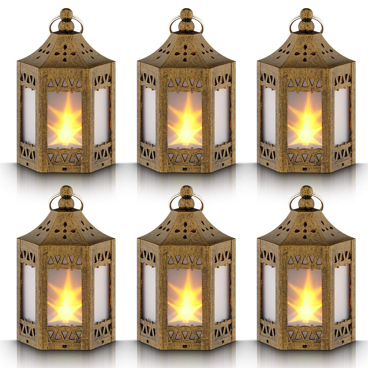 Mini Star Lantern with Flickering LED,Battery Included,Decorative Hanging Lantern,Christmas Decorative Lantern,Indoor Candle Lantern,Battery Lantern Indoor Use,Zkee(Set of 6 Copper Brushed)