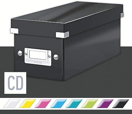 Leitz Caja para Guardar CDs, Negro, Gama Click & Store, 60410095: Amazon.es: Oficina y papelería
