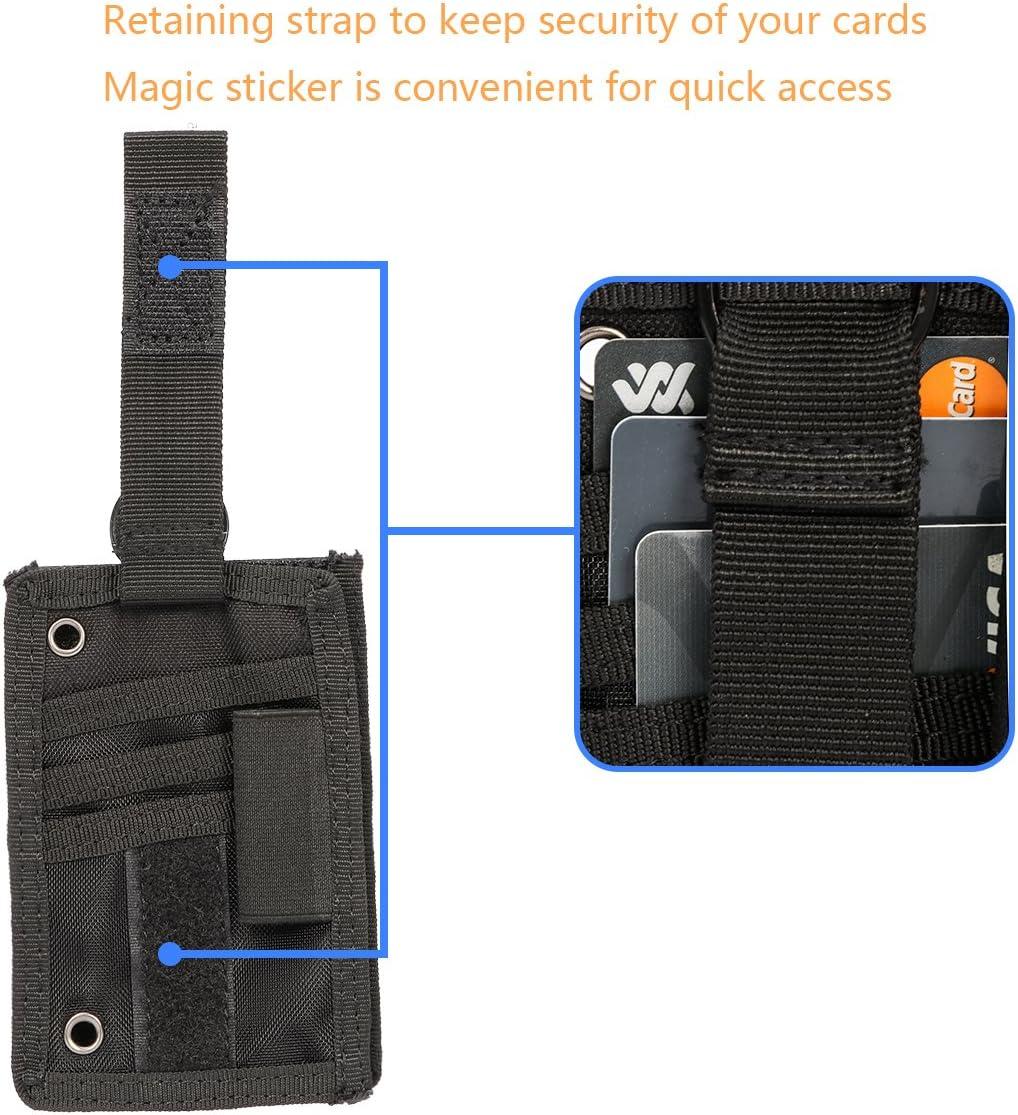 Xidan Support de Carte didentit/é Tactique Loop Patch Porte-badge Porte-cl/és D/étachable