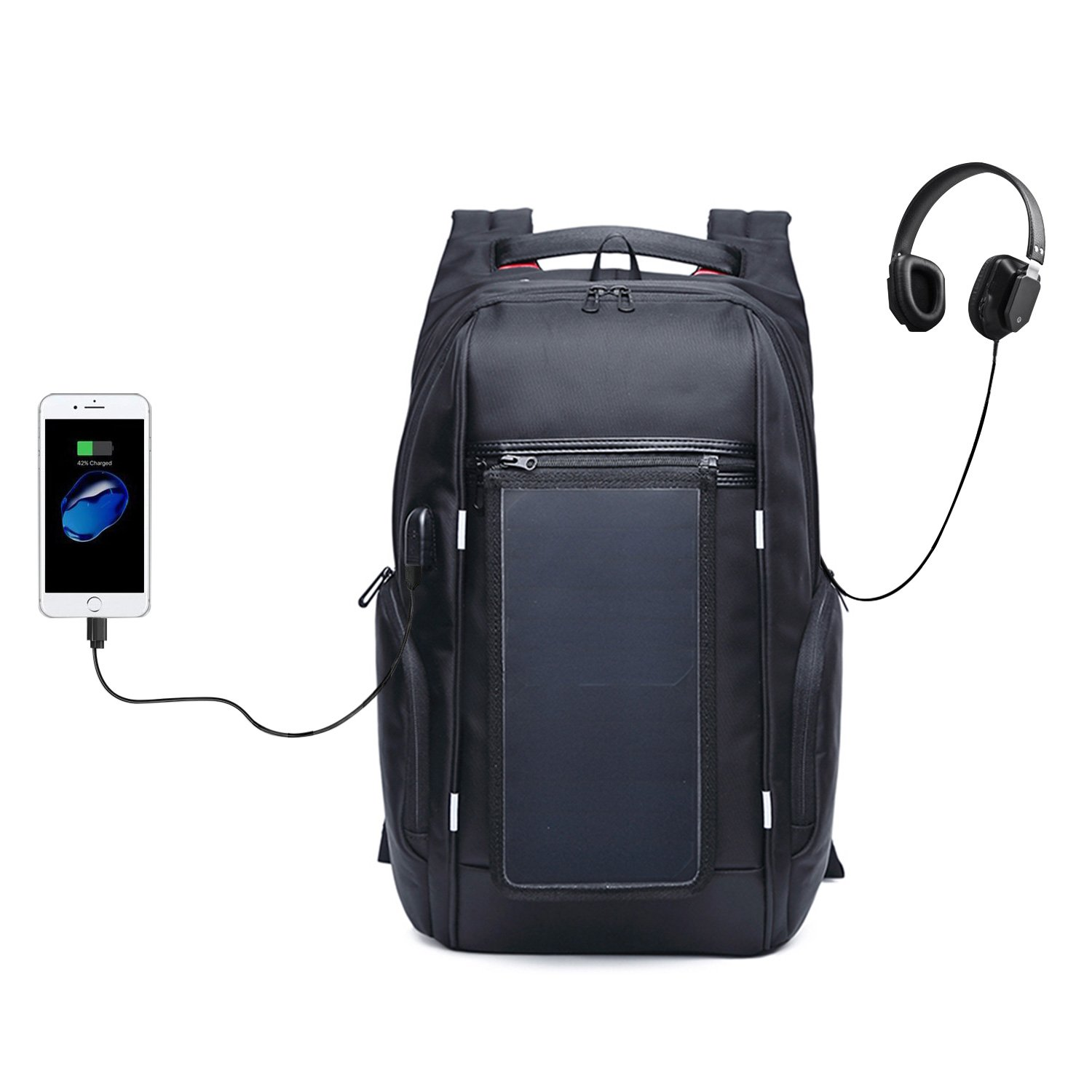 Laptop Backpack, Itechzhu Multi-function Solar Powered Bag with Dual USB Charging Port for Smart Cell Phones and Tablets, Anti Theft Large Capacity Pack for Business Travelling Hiking 15.6'' Black