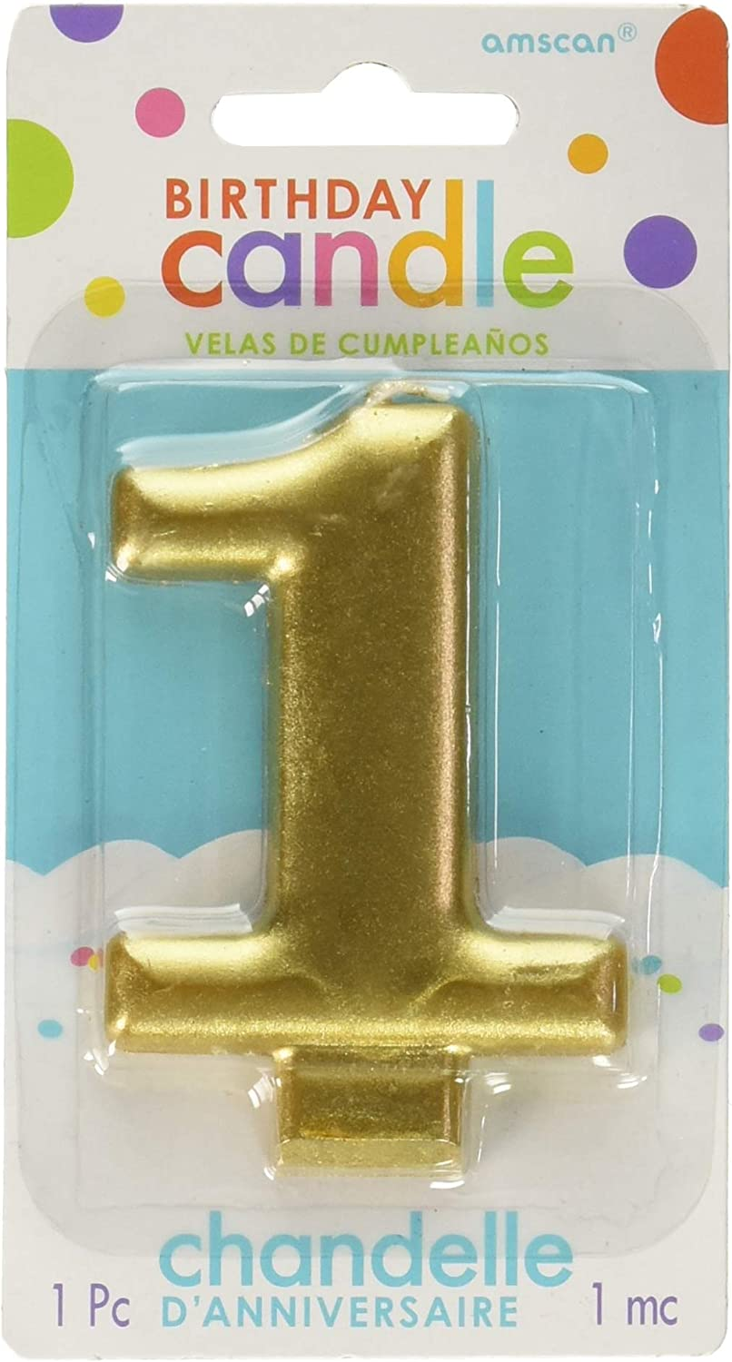 Amscan Birthday Celebration, Numeral #1 Metallic Candle, Party Supplies, Gold, 3 1/4