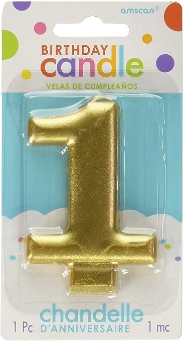 Amazon.com: Amscan 1 cumpleaños purpurina 3,25