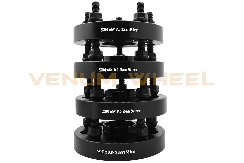 Black M12x1.25 Duplex Spline Locking Lug Nuts Includes 2 Security Sockets 20 4 Pc 25mm Subaru 5x100 to 5x114.3 Conversion Hub Centric Adapter Kit 56.1mm Bore