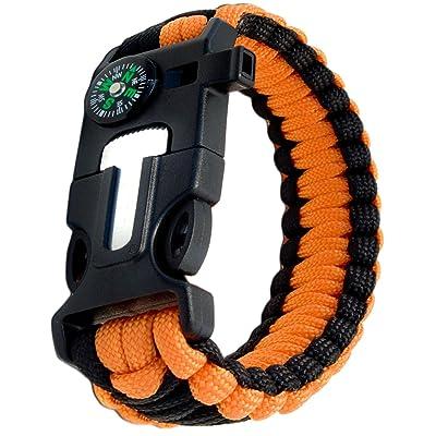 Outdoor saxx®–4en 1Outdoor Survival Bracelet multi tool paracorde de survie |, thermomètre, boussole, sifflet, Vis de tournevis, couteau | Orange