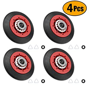 8536974 W10314173 Dryer Drum Roller Compatible with Whirlpool Kenmore Replace W10314171, AP6019303, PS11752609, 8536973,Dryer Drum Support Roller Replacement Part. Pack of 4