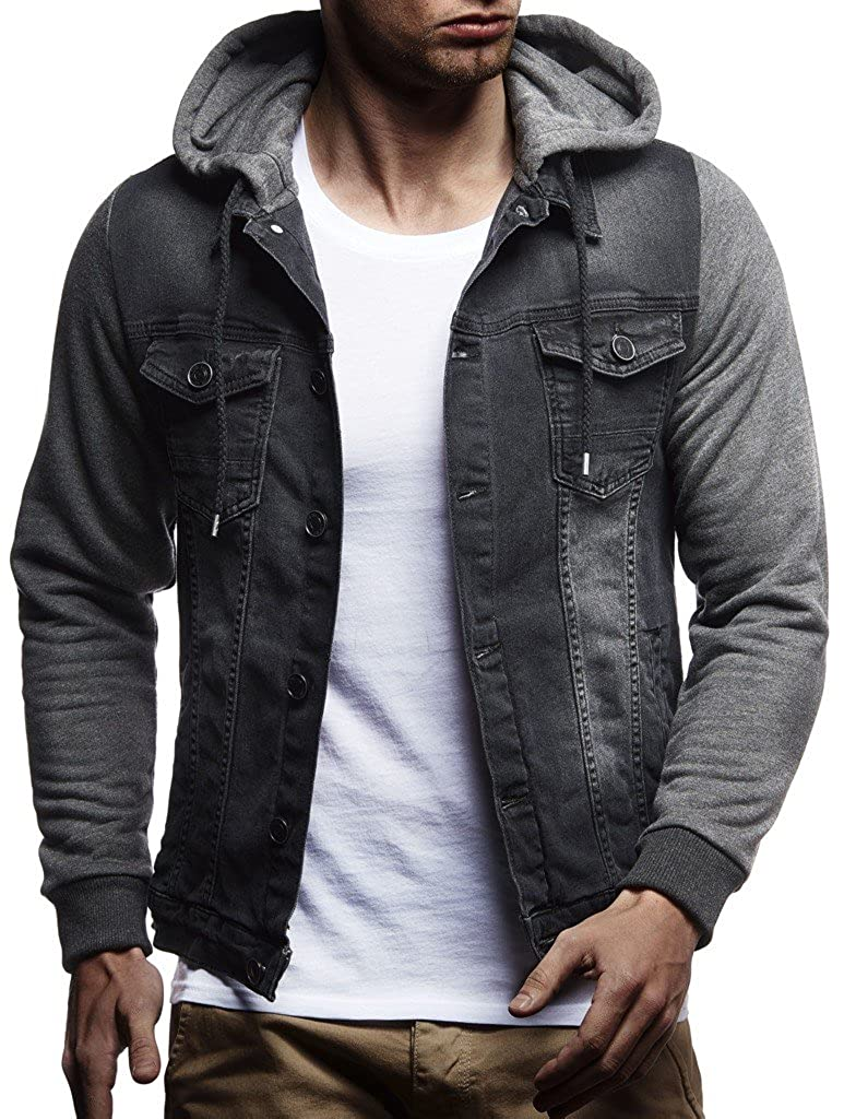 Amazon.com: Leif Nelson Mens Sweat Jacket | Vintage Denim Jacket for Men | Slim-Fit Long Sleeve Hooded Denim Jacket: Clothing