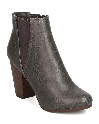 08011e5f96a7 Women Leatherette Chelsea Block Heel Bootie GA72 - Grey (Size  11)