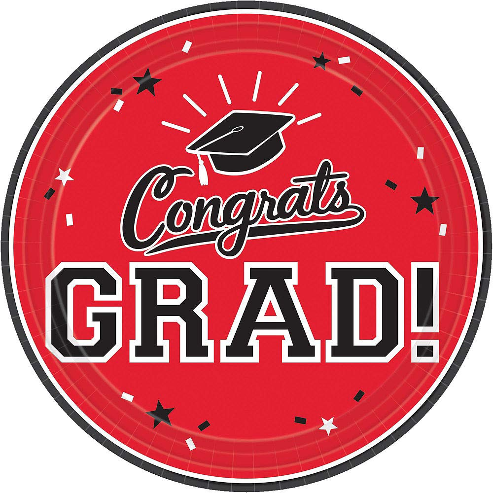 Party City Red Congrats Grad 2019 Graduation Party Supplies for 36 Guests with Banner, Tableware and Balloons by Party City (Image #3)