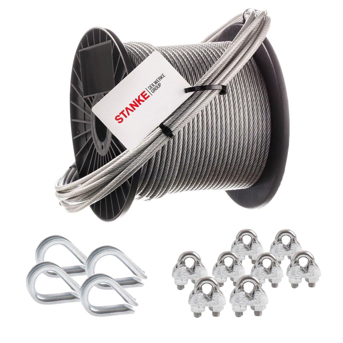 Seilwerk STANKE Rankhilfe PVC Drahtseil ummantelt verzinkt 20m Stahlseil 3mm 6x7, 4x Kausche, 8x Bü gelformklemme - SET 2