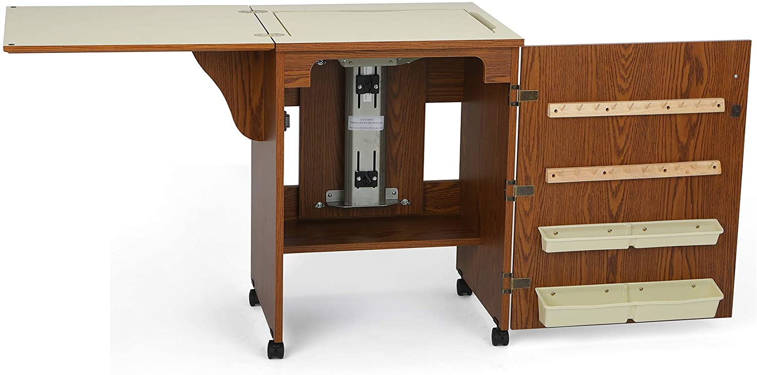 Arrow 500 Sewnatra Sewing Cabinet for Sewing, Cutting, Quilting, Crafting, with Storage and Airlift, Portable with Wheels, Oak Finish