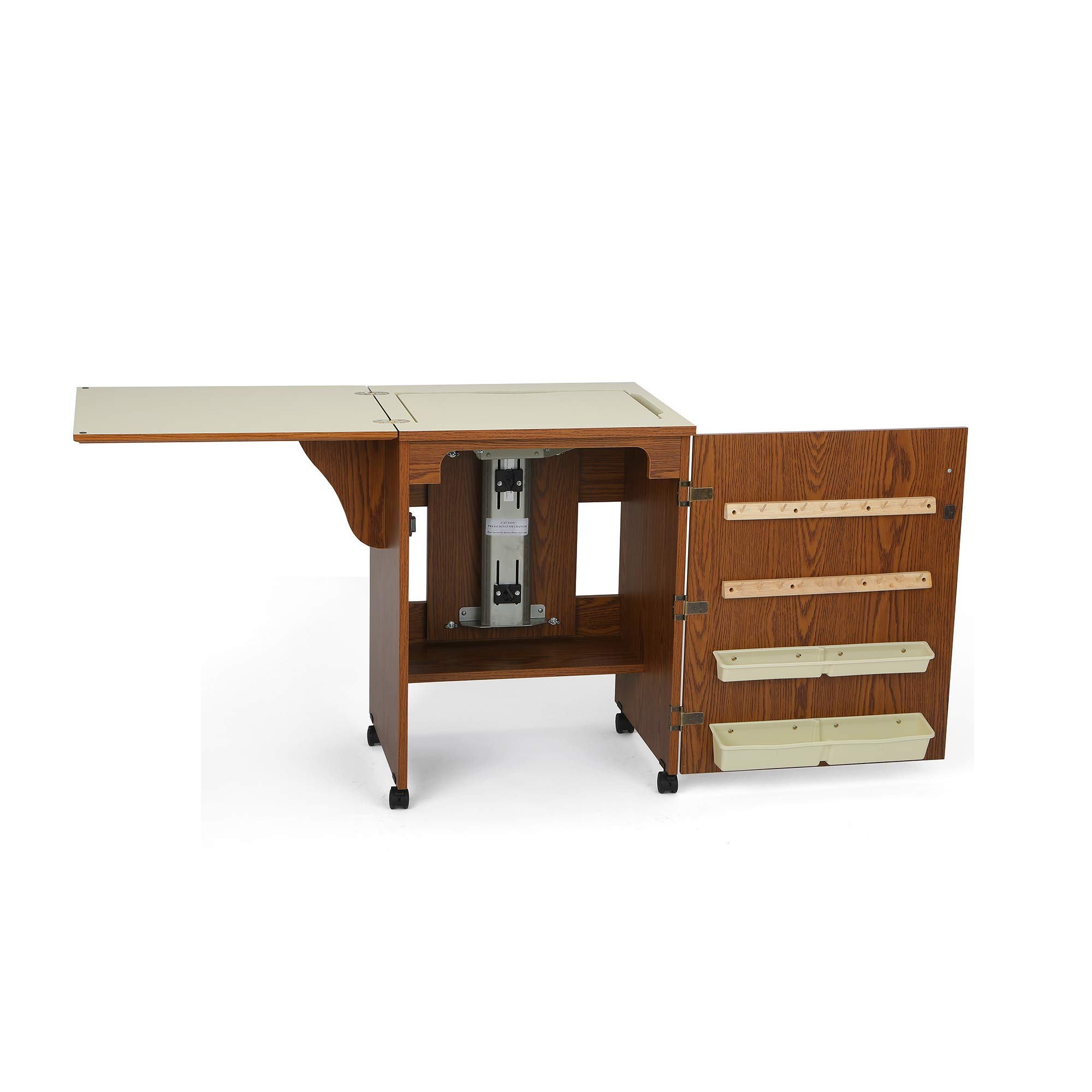 Arrow 500 Sewnatra Sewing Cabinet for Sewing, Cutting, Quilting, Crafting, with Storage and Airlift, Portable with Wheels, Oak Finish by Arrow Sewing Cabinets