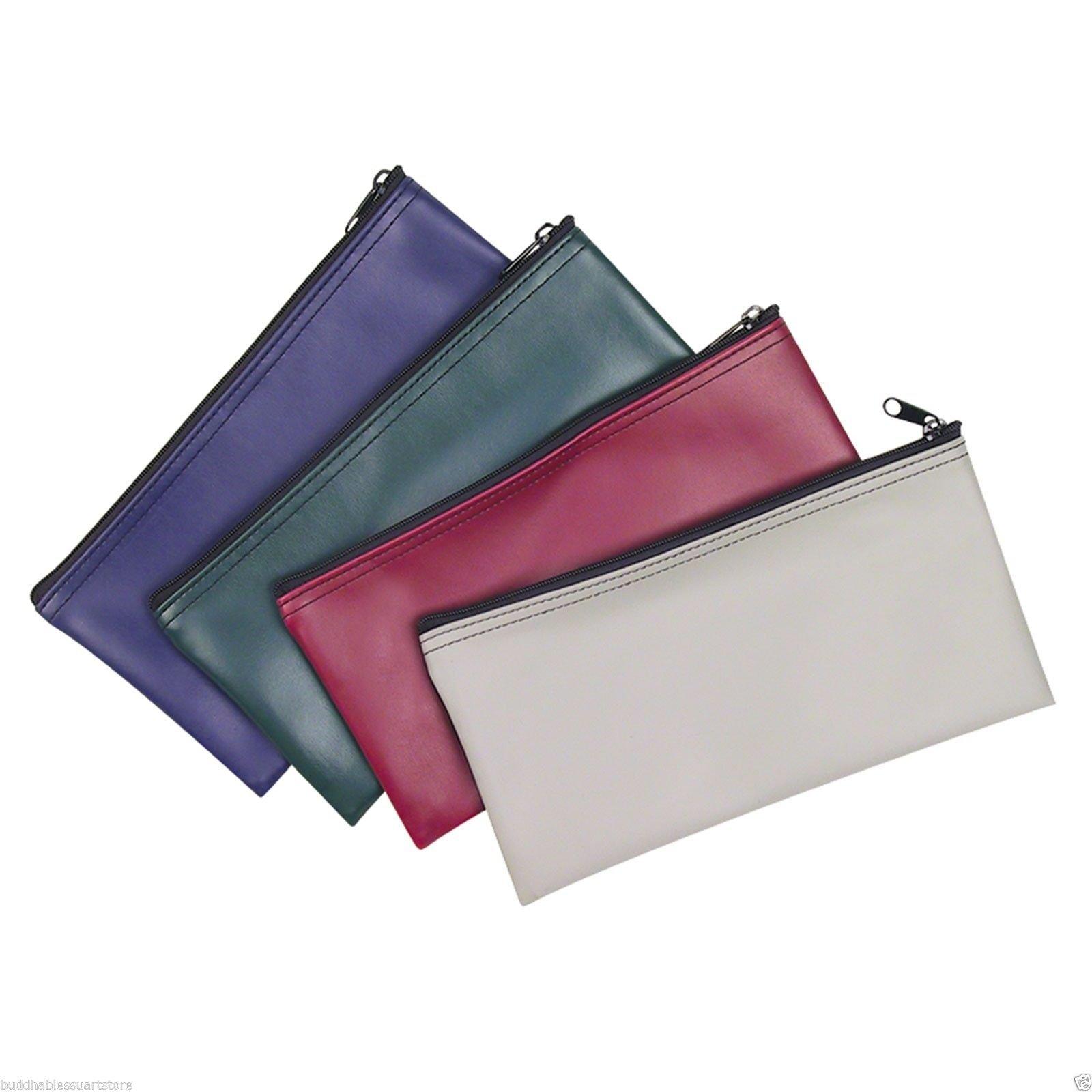 ProEquip 4 Piece Set PM Company Security Bank Deposit Bag/Utility Zipper Coin Bag/Pouch Safe Money Organizer Bag/11 X 5.5 Inches (FREE RETURN) (4 Envelope - 1 of Each Color)
