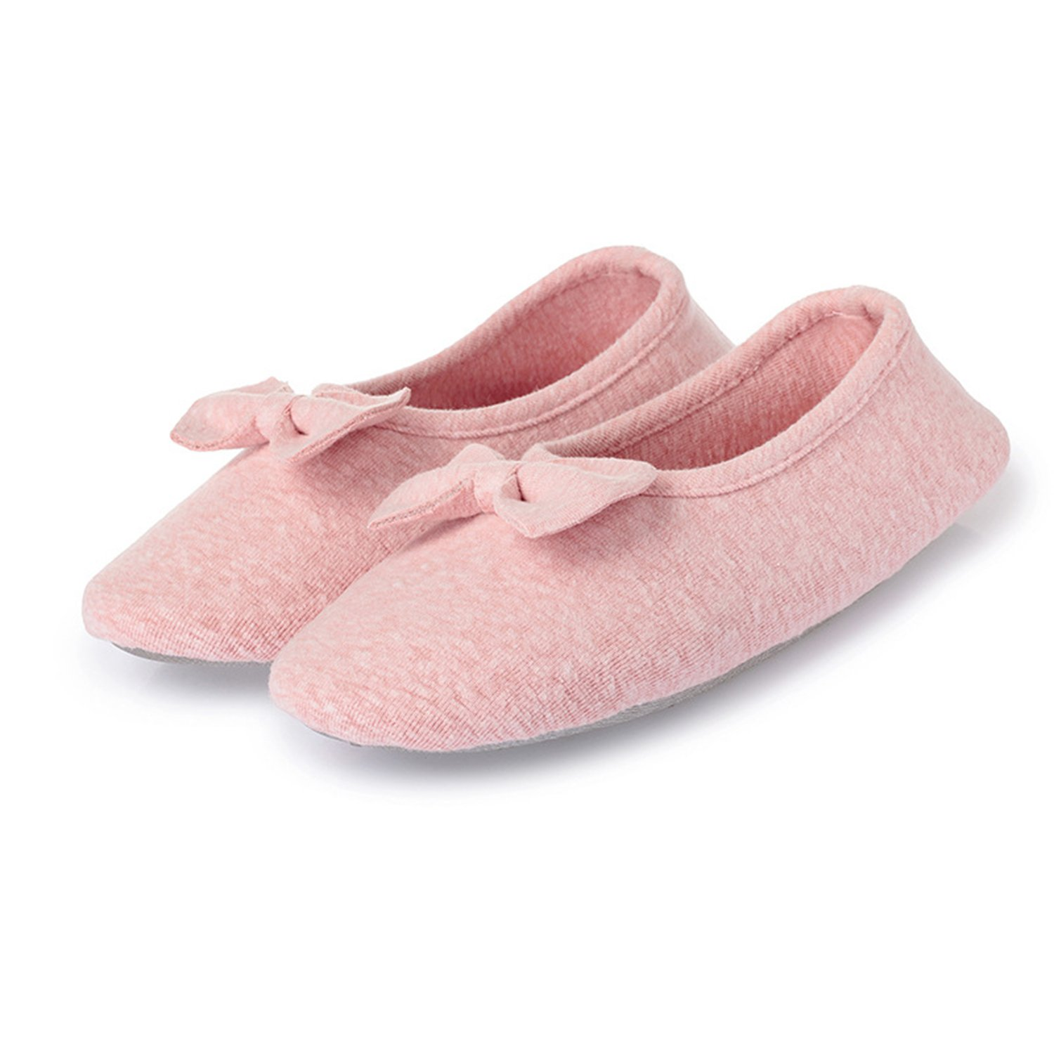 L-RUN Women's Ballerina Style Slippers Anti-Skid House Indoor Shoes Washable (L(W:8.5-9), Pink Bowknot)