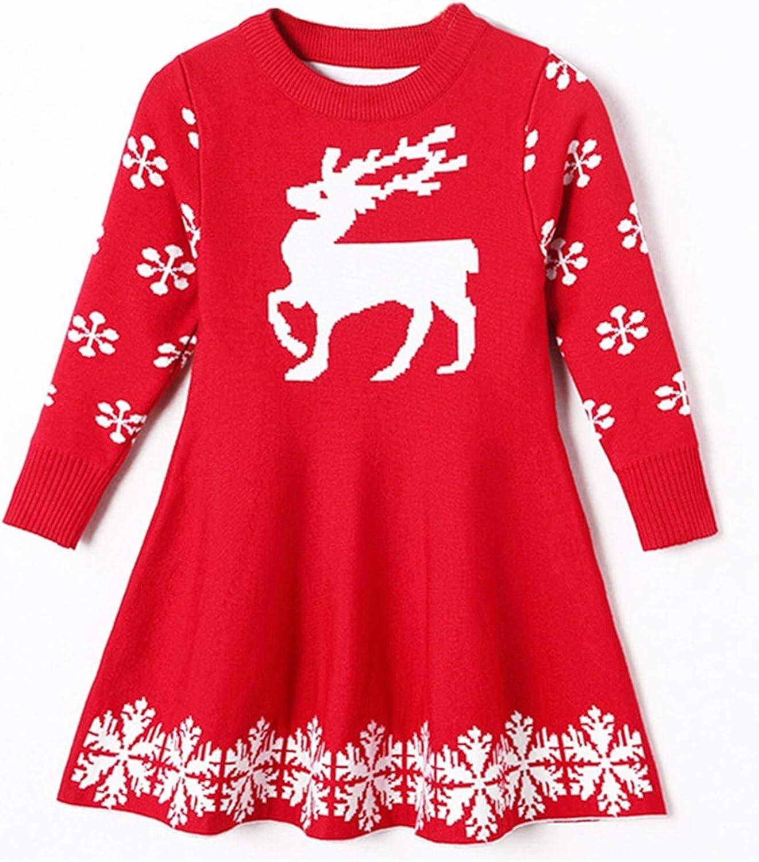 Hanvicvast Weihnachtskleider F/ür M/ädchen Rentier Schneeflocke Pullover Winter Warm Strickpullover Kleid Rot