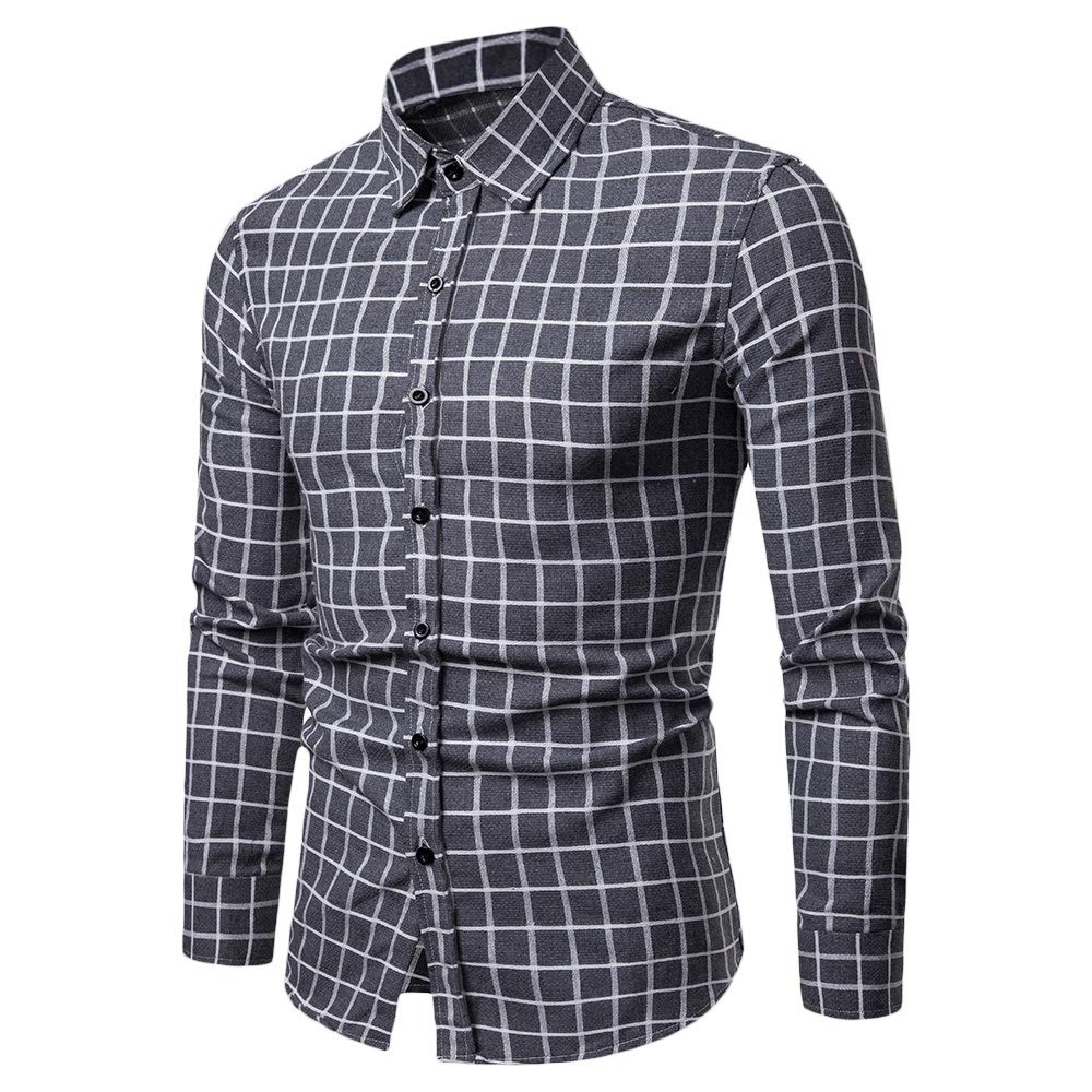 Casual Soft Slim Fit Style Plaid Men Long Sleeve Male Shirt Gray