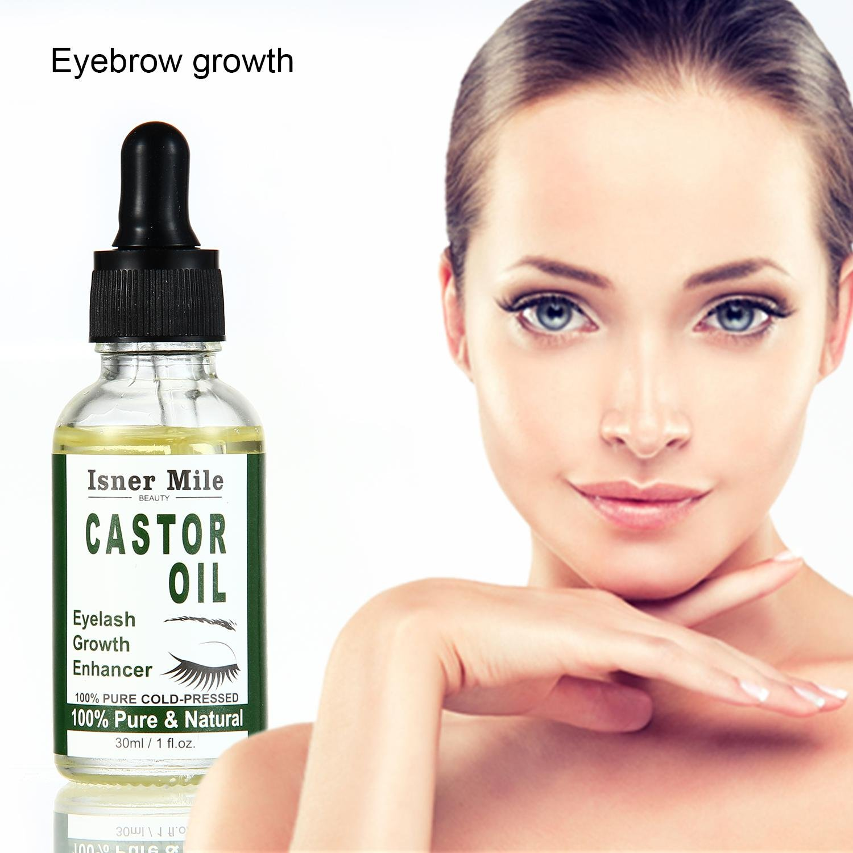 Kobwa - Aceite de ricino orgánico 100% puro prensado en frío para el pelo, pestañas, cejas, crecimiento del cabello con juego de cepillo de máscara y ...