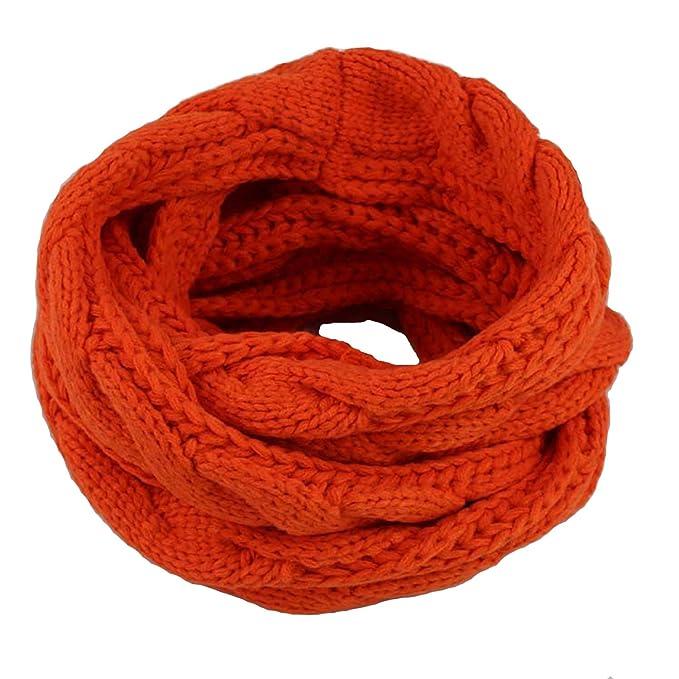 19e91897784bd BELLOO Women Winter Cosy Woollen Snood Loop Scarf Knitted Pattern, Orange