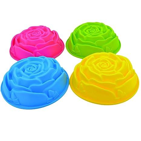 Flores de rosas cumpleaños Cake Pan Tart lata de flan molde de silicona moldes