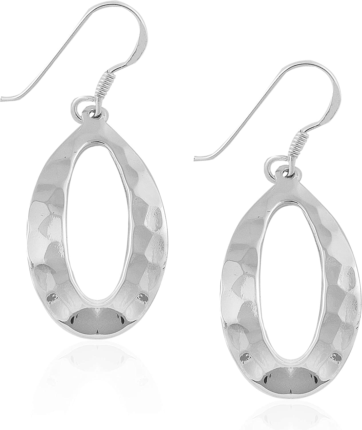 925 Sterling Silver Hammered Oval Egg Bead