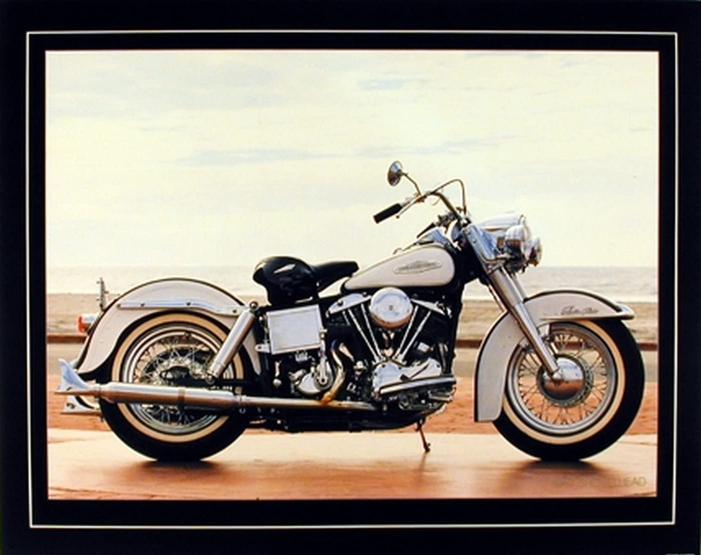 Motorcycle Wall Decor 1967 White Shovelhead Harley Davidson Vintage Bike Art Print Poster (16x20)