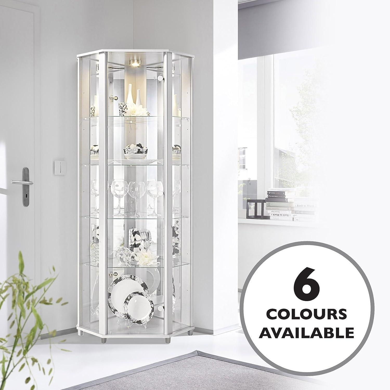 HOME Corner Glass Display Cabinet White with 4 Glass Shelves, Spotlight & Mirror Back Panel DisplayCabinetsUK