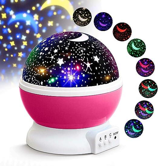 Proyector giratorio de estrellas, luz LED nocturna, lámpara de ...