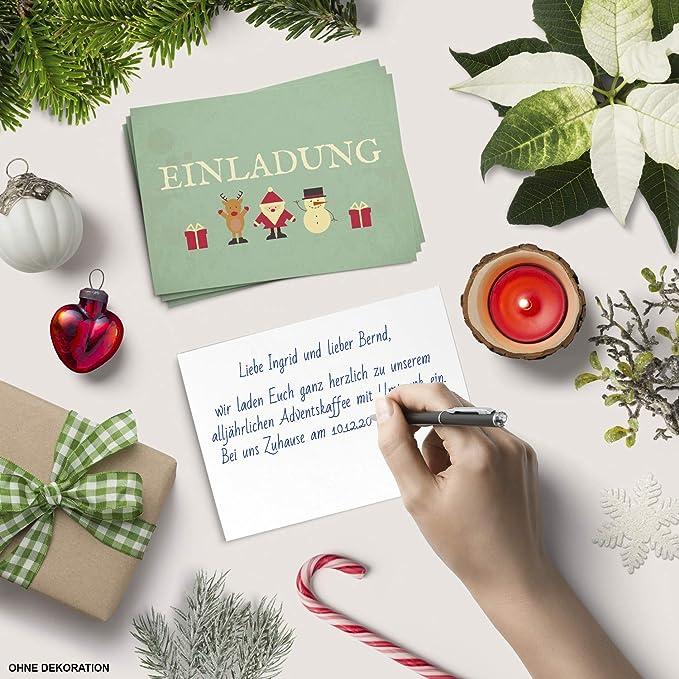 Blaue Weihnachtskugeln//Weihnachten//Christmas Party//Einladung//f/ür Firmen 15 x Einladungskarten mit Umschlag zur Weihnachtsfeier//Motiv
