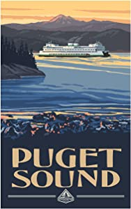 "Puget Sound Ferry Washington Travel Art Print Poster by Paul A. Lanquist (12"" x 18"")"