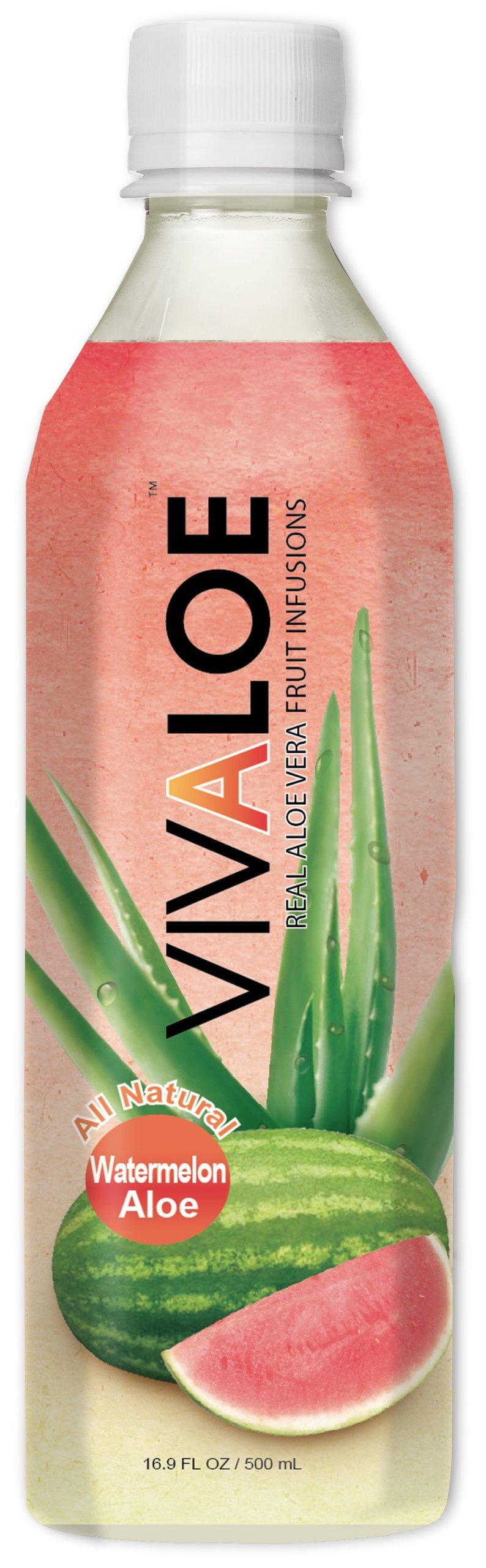 Vivaloe Watermelon Flavor Aloe Beverage All Natural Aloe Juice, 16.9 fl. oz./500 mL, 12 Count