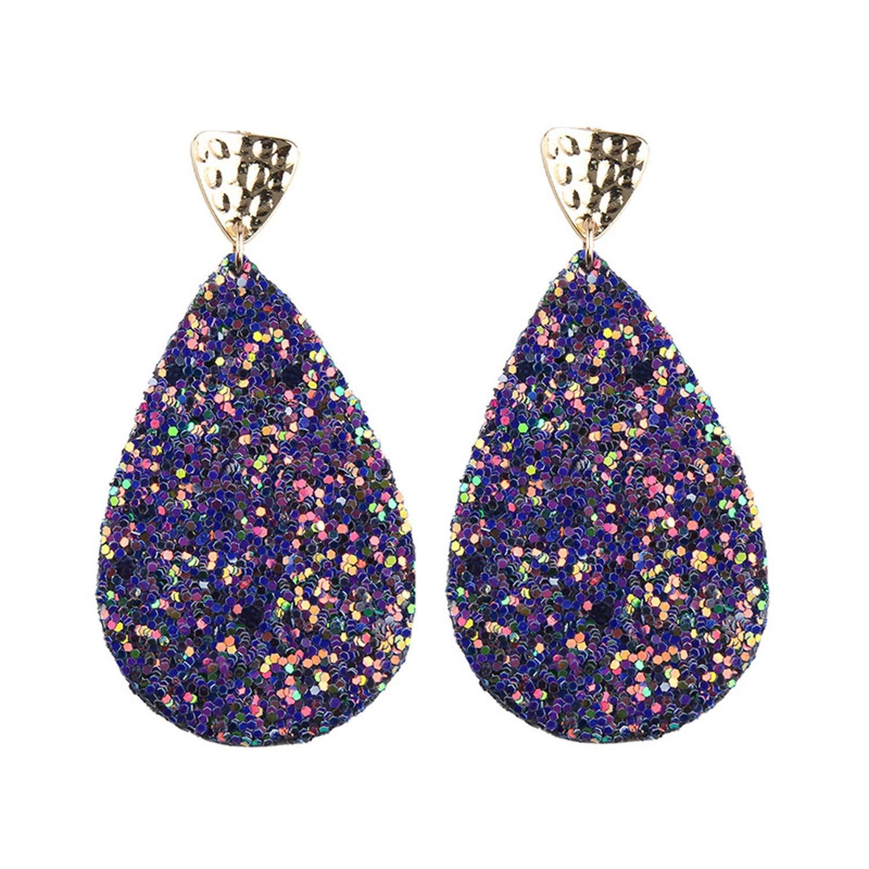 Thankstop earrings Fashion Party Earrings Trendy Glittering Sequin Earrings Women's Cotton Earrings for Cross-Border,purple