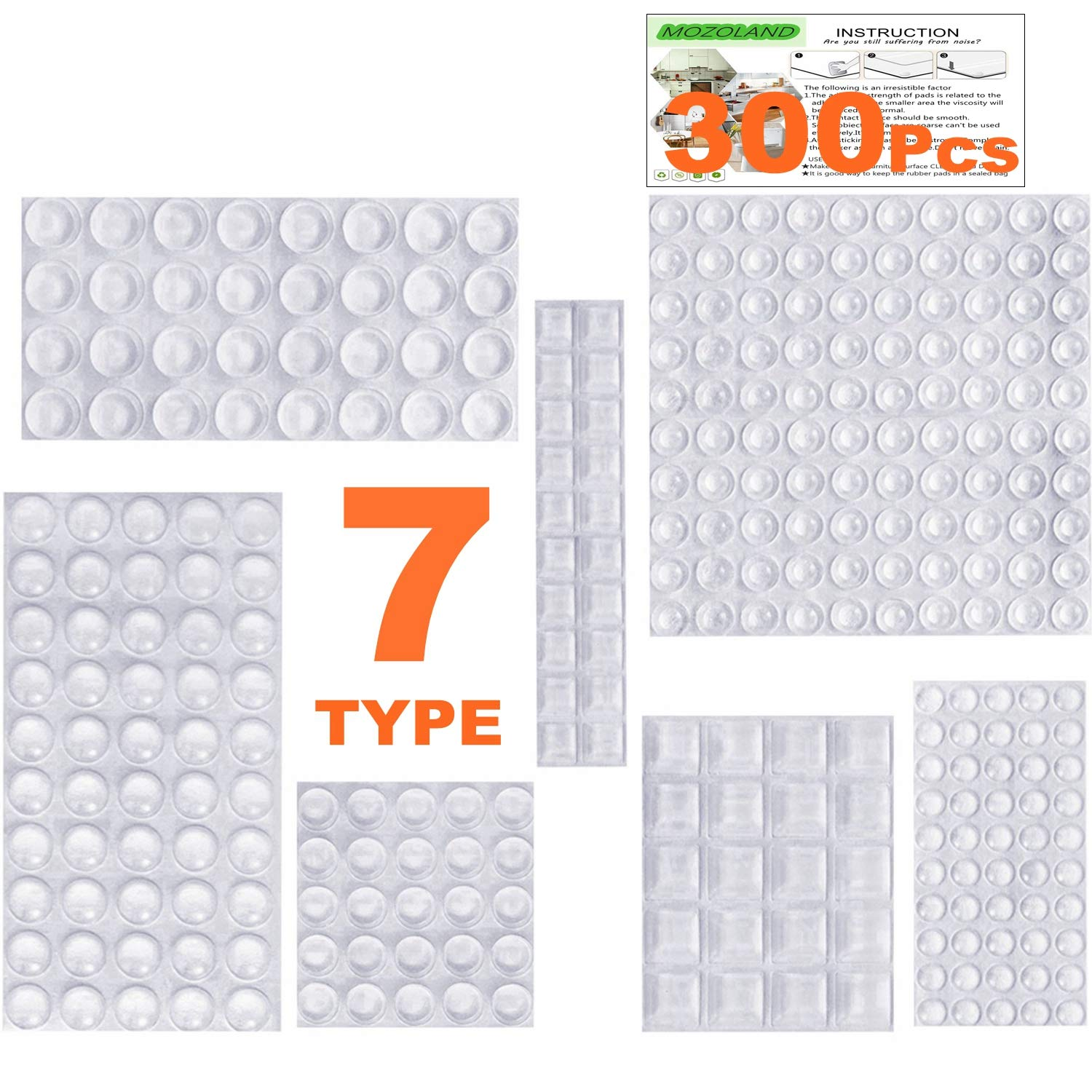 Clear Rubber Feet Bumpers Pads 300 Pieces Self Adhesive Transparent Stick Bumper Noise Dampening Buffer Bumpers for Door Drawer Self Stick Cabinet-MOZOLAND