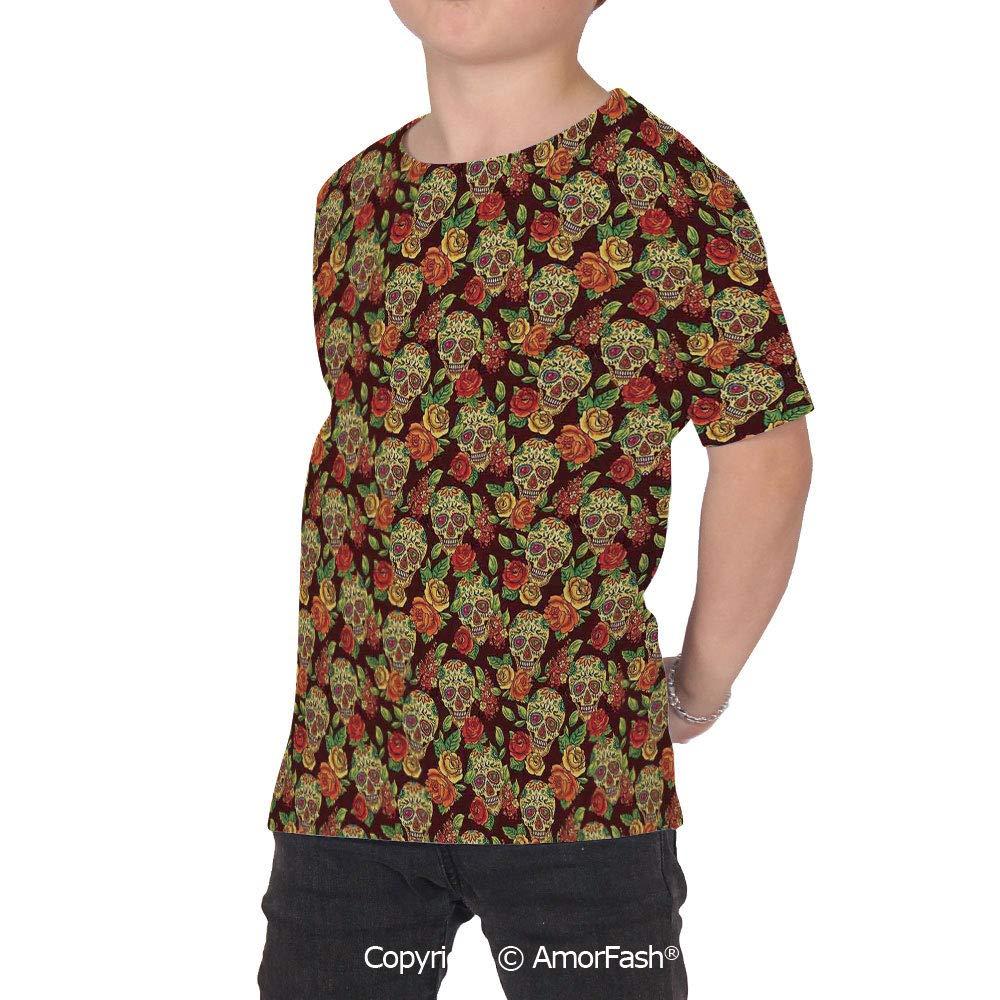PUTIEN Skulls Decorations Over Print T-Shirt,Boy T Shirt,Size XS-2XL Big,Colorful Diamo