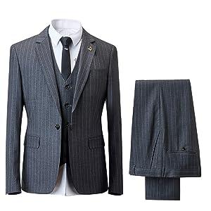 [YFFUSHI]スーツ スリーピース メンズ チェック柄 ストライプ フォーマルスーツ ビジネス カジュアル S-4XL