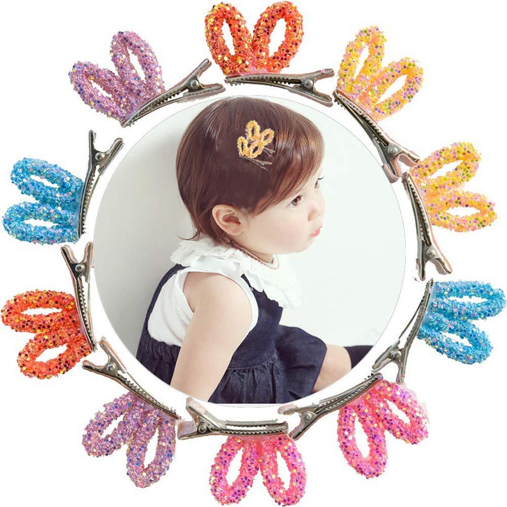 10pcs Boutique Hair Bows Girls Kids Rabbit Ear Clip Grosgrain Ribbon Hair Clips