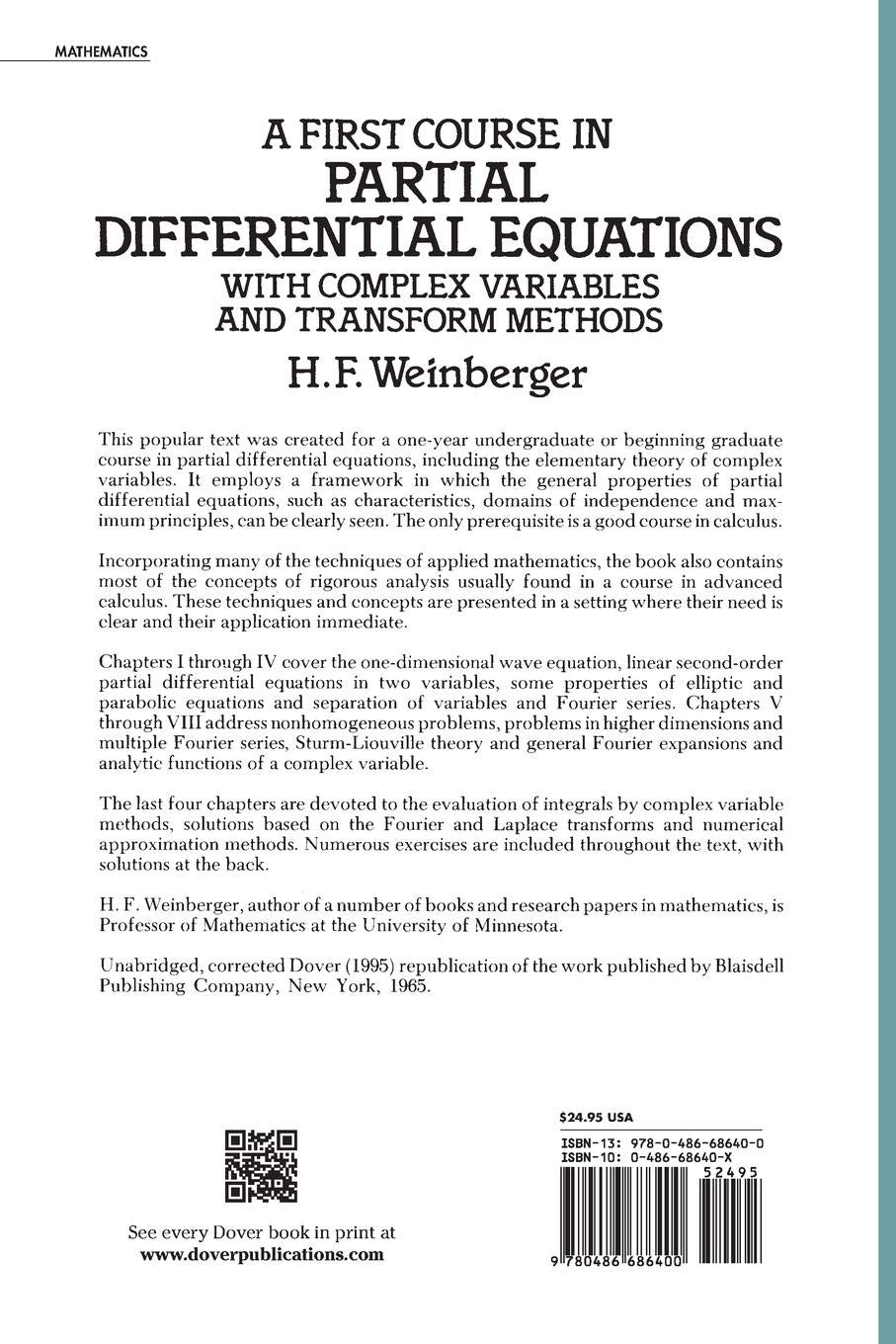 Buy A First Course in Partial Differential Equations with Complex