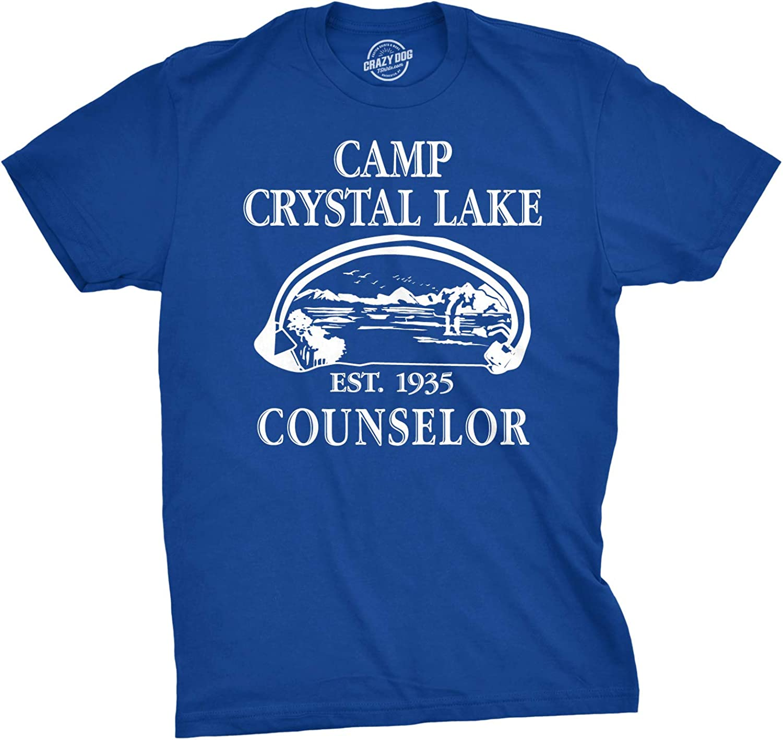 Mens Camp Crystal Lake T Shirt Funny Graphic Camping Vintage Adult Novelty Tees