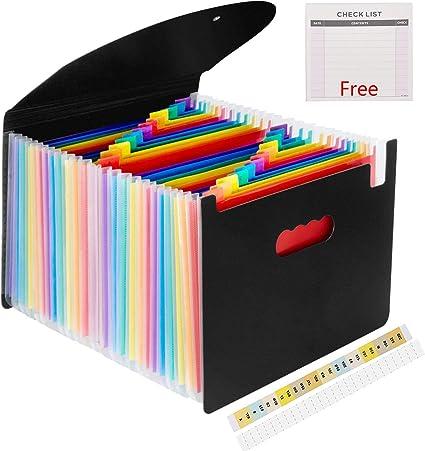 Carpeta archivadora expandible con 24 bolsillos, grande, de plástico, con diseño de arcoíris, tamaño A4, portadocumentos, organizador de documentos, caja de almacenamiento, sobres de plástico para negocios con tapas: Amazon.es: Oficina y