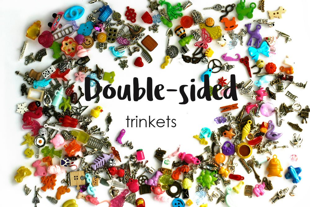 TomToy Double-Sided I Spy trinkets for I spy Bag, I spy Bottle, Mixed Miniatures, Small Buttons, Beads, Charms and Objects, 1-3cm, Set of 20/50/100/200 (100 trinkets)