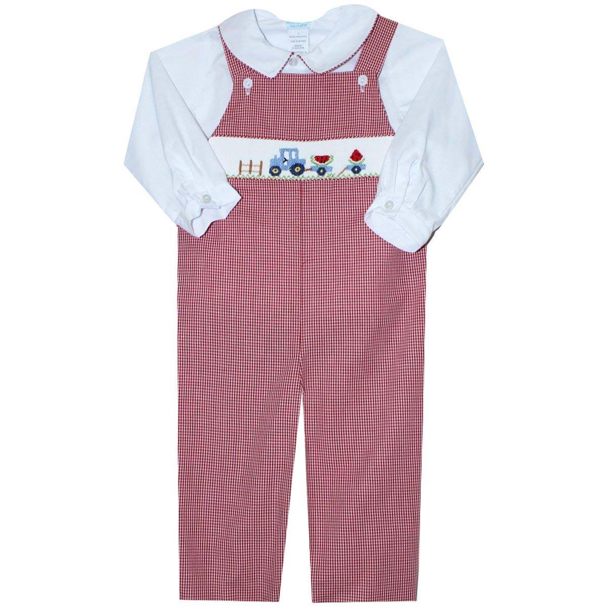 Tractor Smocked Red Check Long Sleeve Overall and Shirt