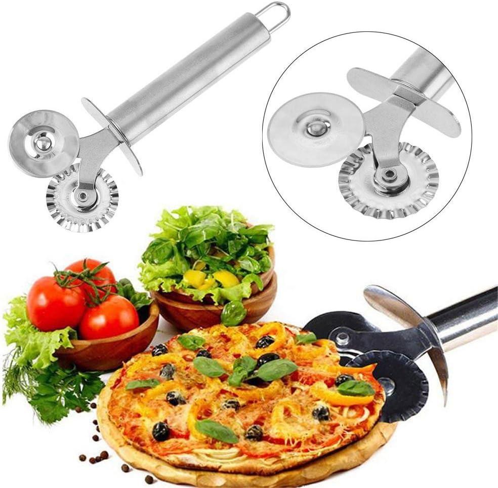 Roulettes /à pizza doubles en acier inoxydable roulettes /à pizza int/éressantes roulettes /à pizza avec roues de coupe tranchantes et support de cadeau de No/ël blanc rev/êtement antiadh/ésif